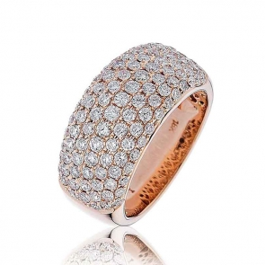Diamond Pave Set Half Eternity Ring 1.65ct, 18k Rose Gold