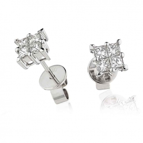 Diamond Princess Cut Studs 0.60ct, 18k White Gold