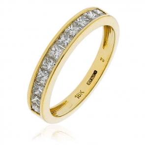 Diamond Princess Half Eternity Ring 0.75ct, 18k Gold
