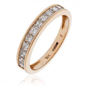 Diamond Princess Half Eternity Ring 0.75ct, 18k Rose Gold