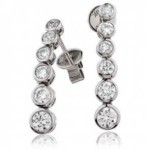 Diamond Rubover Drop Earrings 1.20ct, 18k White Gold