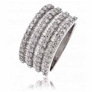 Diamond Seven Row Dress Ring 2.25ct, 18k White Gold