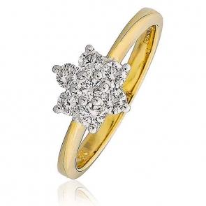 Diamond Seven Stone Cluster Ring 0.50ct, 18k Gold