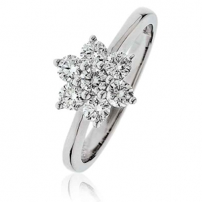 Diamond Seven Stone Cluster Ring 0.75ct, 18k White Gold