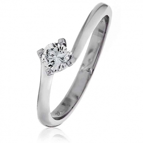 Diamond Solitaire Engagement Ring 0.50ct, 18k White Gold