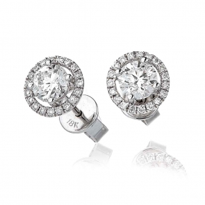 Diamond Solitaire Halo Stud Earrings 1.20ct, 18k White Gold