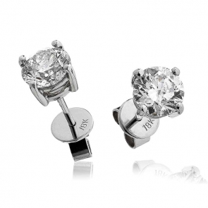 Diamond Studs 1.00ct, 18k White Gold