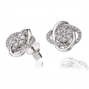 Diamond Swirl Stud Earrings 0.55ct, 18k White Gold