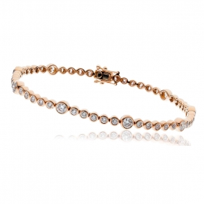 Diamond Tennis Bracelet 2.50ct H/SI, 18k Rose Gold