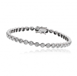Diamond Tennis Bracelet 5.00ct, 18k White Gold G/SI1