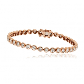 Diamond Tennis Bracelet 5.00ct, 18k Rose Gold G/SI1