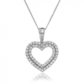 Diamond Twin Heart Pendant 0.60ct, 18k White Gold