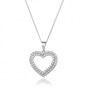 Diamond Twin Heart Pendant 1.25ct, 18k White Gold