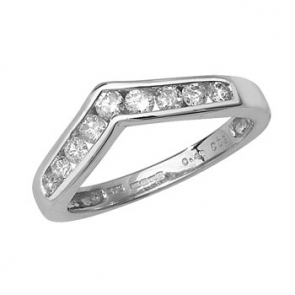Diamond Wishbone Half Eternity Ring 0.50ct, 9k White Gold