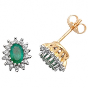 Diamond and Emerald Earrings 1.35ct. 9k Gold