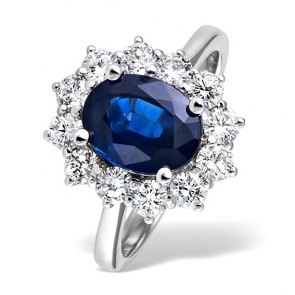 Diamond and Sapphire Ring 3.30ct in Platinum