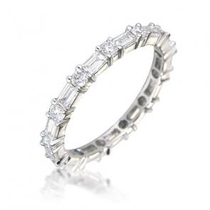 Diamond Baguette Eternity Ring 1.25ct, 18k White Gold