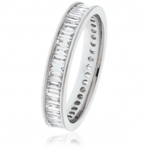 Diamond Baguette Eternity Ring 1.75ct, 18k White Gold