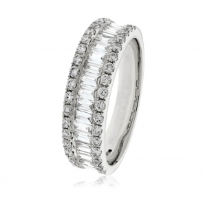 Diamond Baguette Half Eternity Ring 0.90ct, Platinum