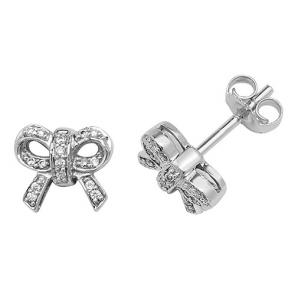 Diamond Bow Stud Earrings 0.10ct, 9k White Gold