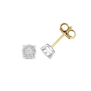 Diamond Brilliant Illusion Studs 0.12ct, 9k Gold