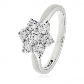 Diamond Cluster Seven Stone Ring 1.00ct, 18k White Gold