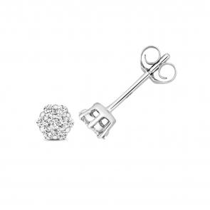 Diamond Cluster Stud Earrings 0.15ct, 9k White Gold