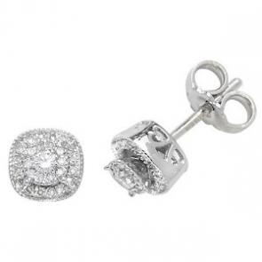 Diamond Cluster Stud Earrings 0.26ct, 9k White Gold