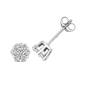 Diamond Cluster Stud Earrings 0.35ct, 9k White Gold