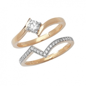 Diamond Cross-Over Ring Set 0.43ct, 9k Gold