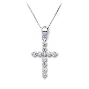 Diamond Cross Necklace 0.30ct, 18k White Gold