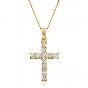 Diamond Cross Necklace 1.00ct, 18k Gold
