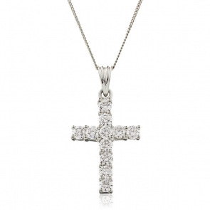 Diamond Cross Necklace 1.00ct, 18k White Gold