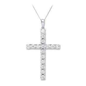 Diamond Cross Necklace 1.70ct, 18k White Gold