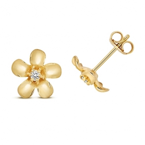 Diamond Daisy Stud Earrings 0.05ct, 9k Gold
