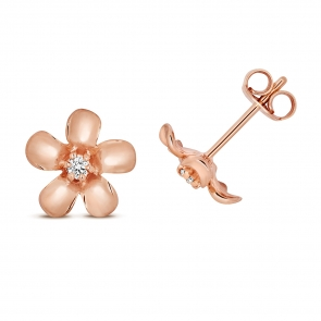 Diamond Daisy Stud Earrings 0.05ct, 9k Rose Gold