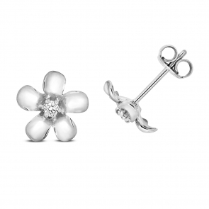Diamond Daisy Stud Earrings 0.05ct, 9k White Gold