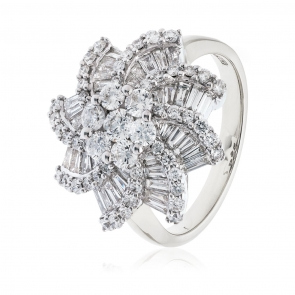 Diamond Dress Ring 2.00ct, 18k White Gold