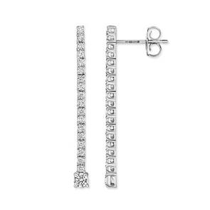 Diamond Drop Earrings 0.60ct, 18k White Gold