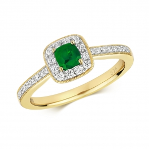 Diamond & Emerald Cushion Ring 0.54ct, 9k Gold