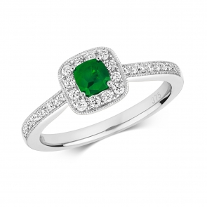 Diamond & Emerald Cushion Ring 0.54ct, 9k White Gold