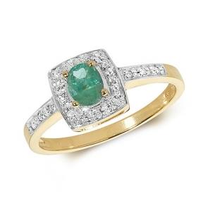 Diamond & Emerald Cushion Shape Ring 0.41ct, 9k Gold