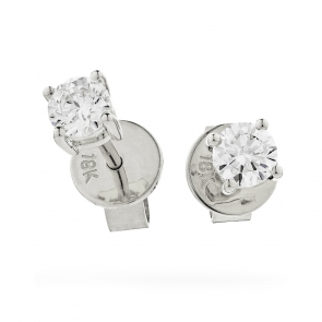 Diamond Four Claw Studs 0.20ct G/SI, 18k White Gold