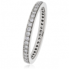 Diamond Full Eternity Ring 0.45ct, 18k White Gold