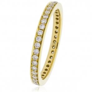 Diamond Full Eternity Ring 0.80ct Bead Set, 18k Gold