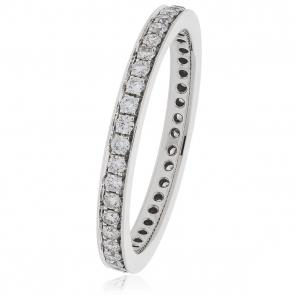 Diamond Full Eternity Ring 0.80ct Bead Set, 950 Platinum