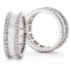 Diamond Full Eternity Ring 5.50ct, 18k White Gold