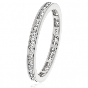 Diamond Full Eternity Ring Channel Set 0.50ct, 18k White Gold