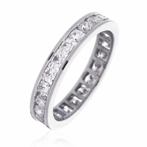 Diamond Full Eternity Ring Channel Set 1.50ct, 18k White Gold
