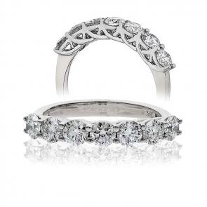 Diamond Half Eternity 7 Stone Ring 2.00ct, 18k White Gold